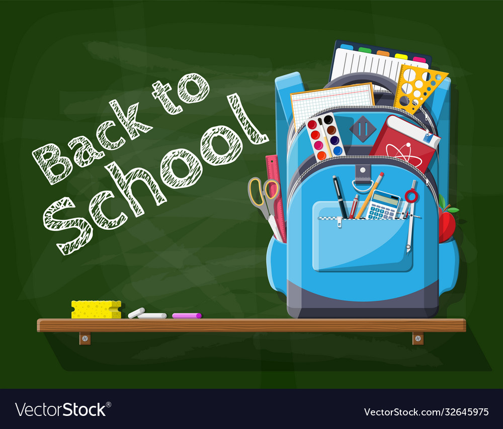 School green chalkboard with backpack