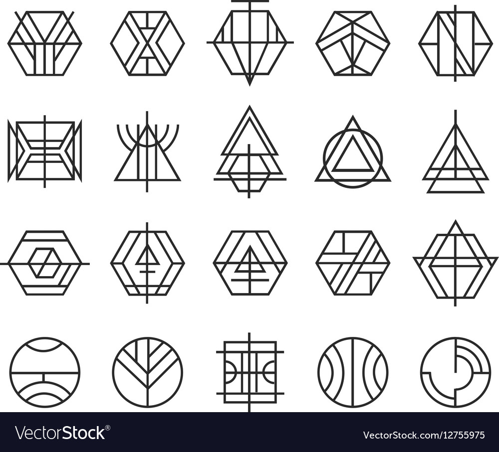 Set abstract linear hipster logos