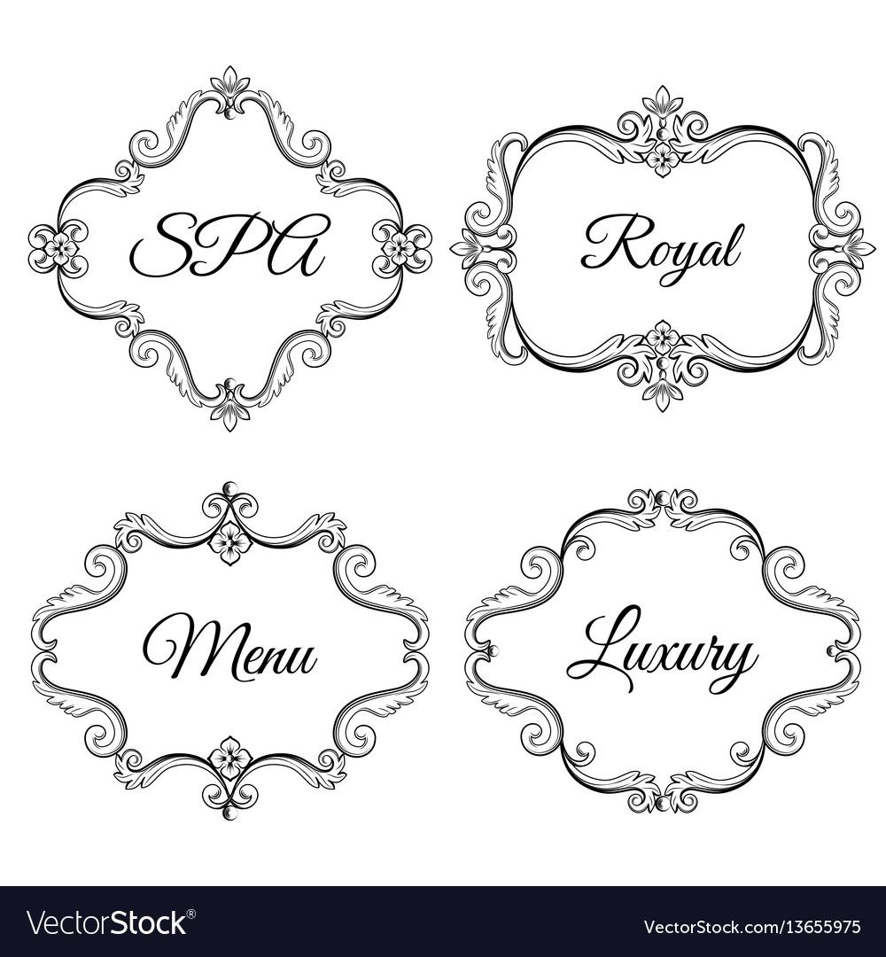 Set collection of ornamental vintage frames with