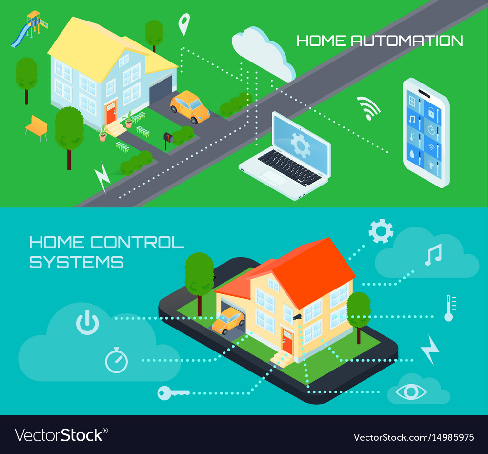 Smart home isometric banners set vector image