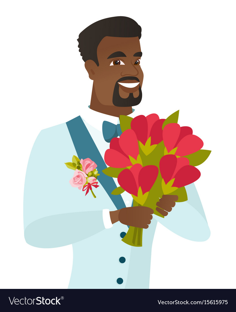 Young african-american groom with bridal bouquet