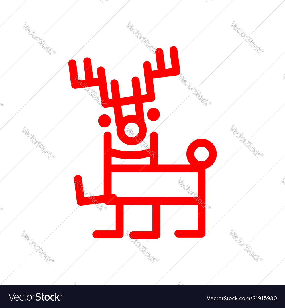 Cartoon deer marker style red