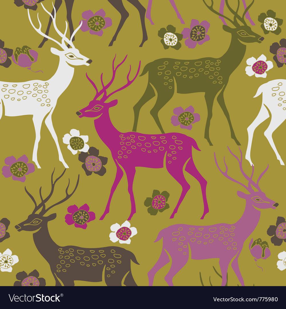 Deer forest background vector image
