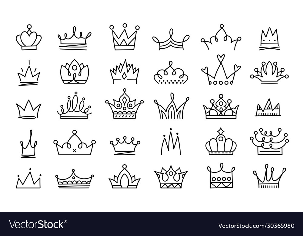 Doodle crowns line art king or queen crown sketch vector