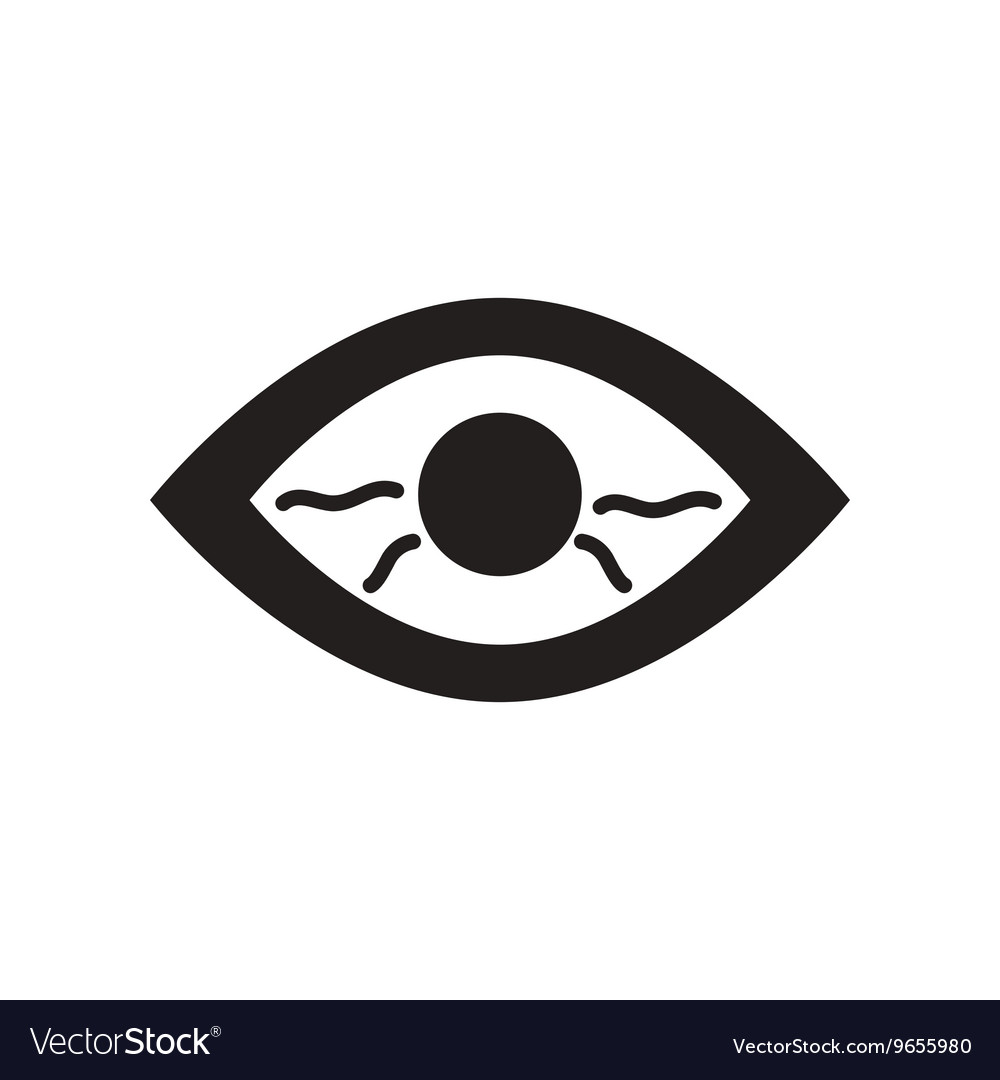 Flat icon in black and white style eye problems