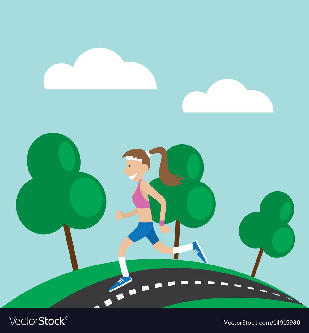 Girl jogging nature
