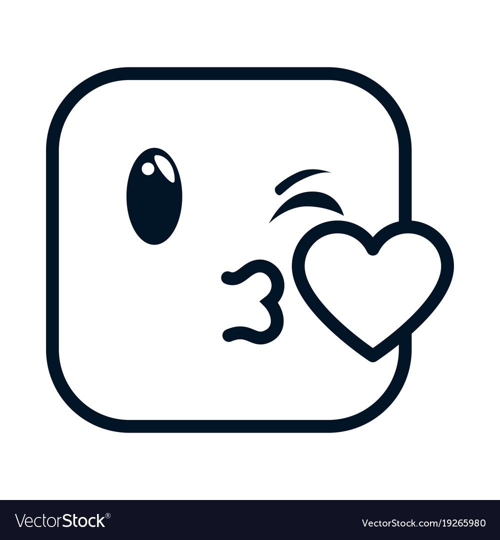 Kissing Face Emoji Character Royalty Free Vector Image