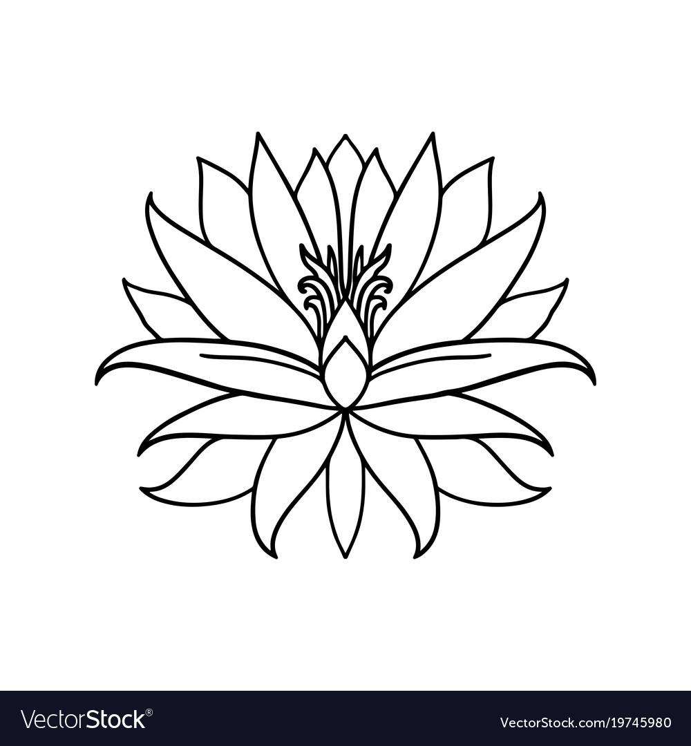Lotus flower icon on white background yoga symbol