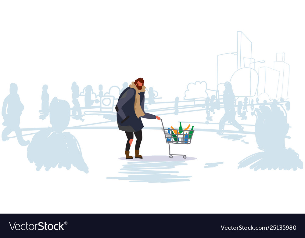 Poor man pushing trolley cart with colorful empty