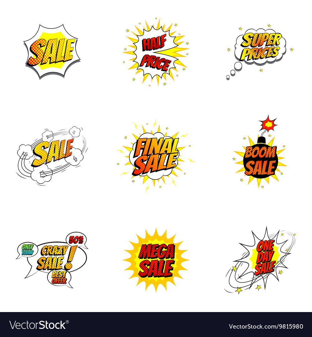 Set of sale symbols in pop art style