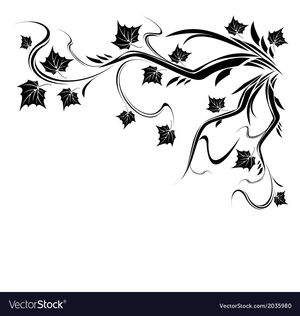 Stylized Black tree with leaves