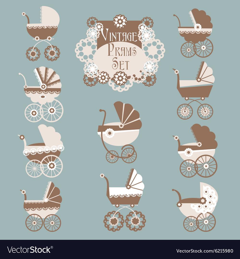 Vintage Prams-Baby carriage set vector image