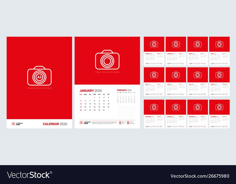 Wall calendar template for 2020 year week starts