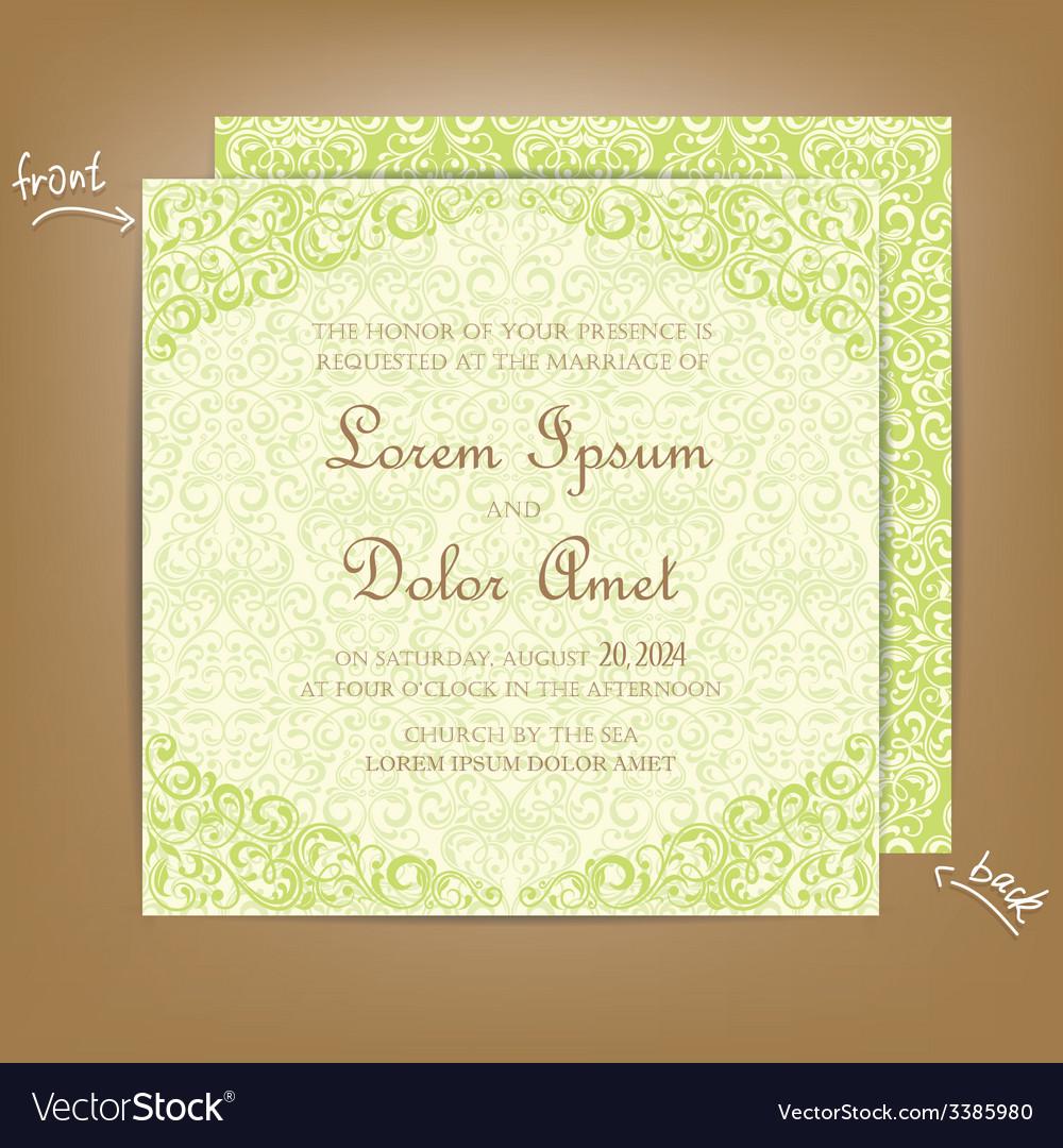 Wedding card green Royalty Free Vector Image - VectorStock