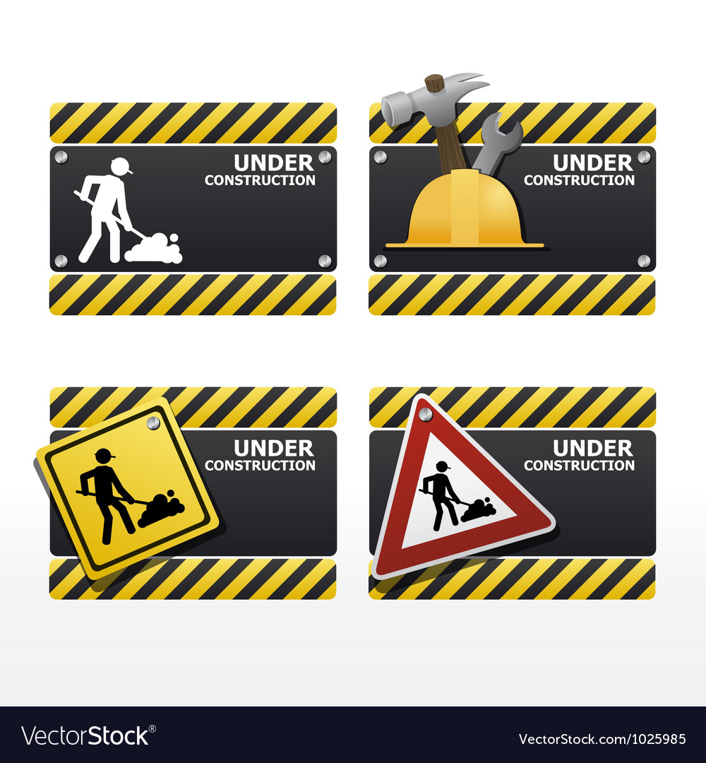 Beware traffic sign under construction set