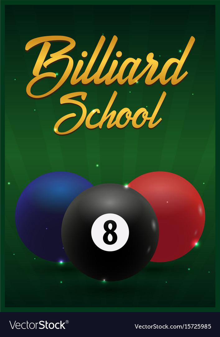 Billiard school poster on a green background