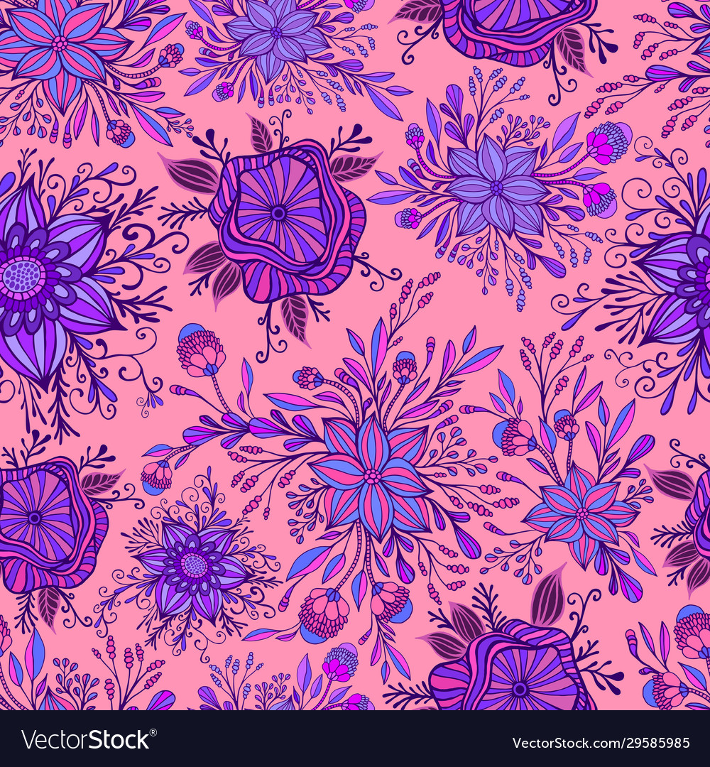 Blooming colorful flowers seamless pattern purple
