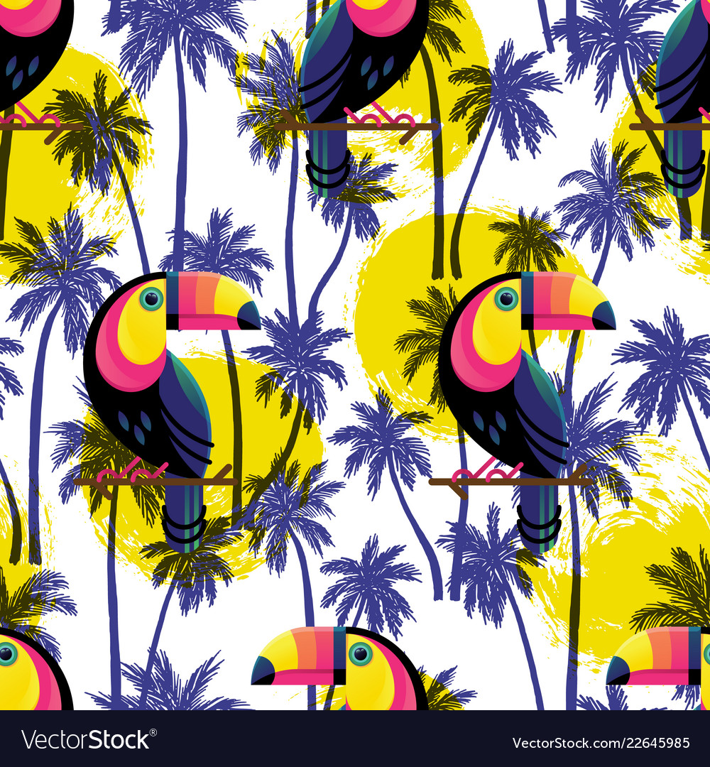 Botanical seamless pattern with toucan