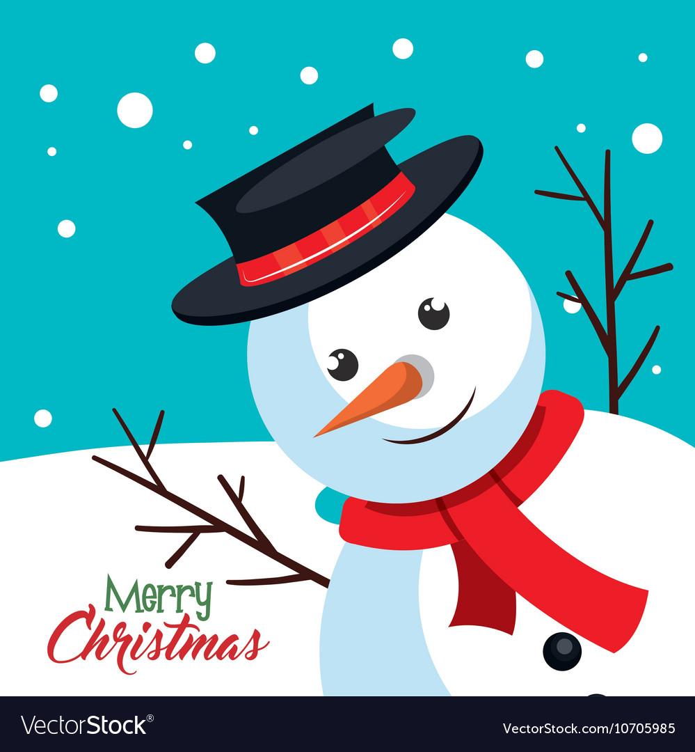 Card snowman happy mery christmas Royalty Free Vector Image