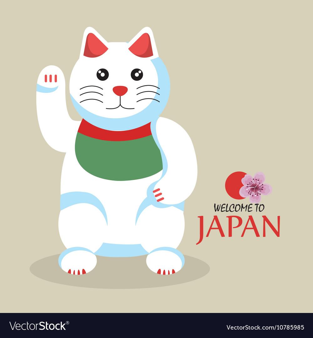 Cat cartoon icon traditional culture japan design