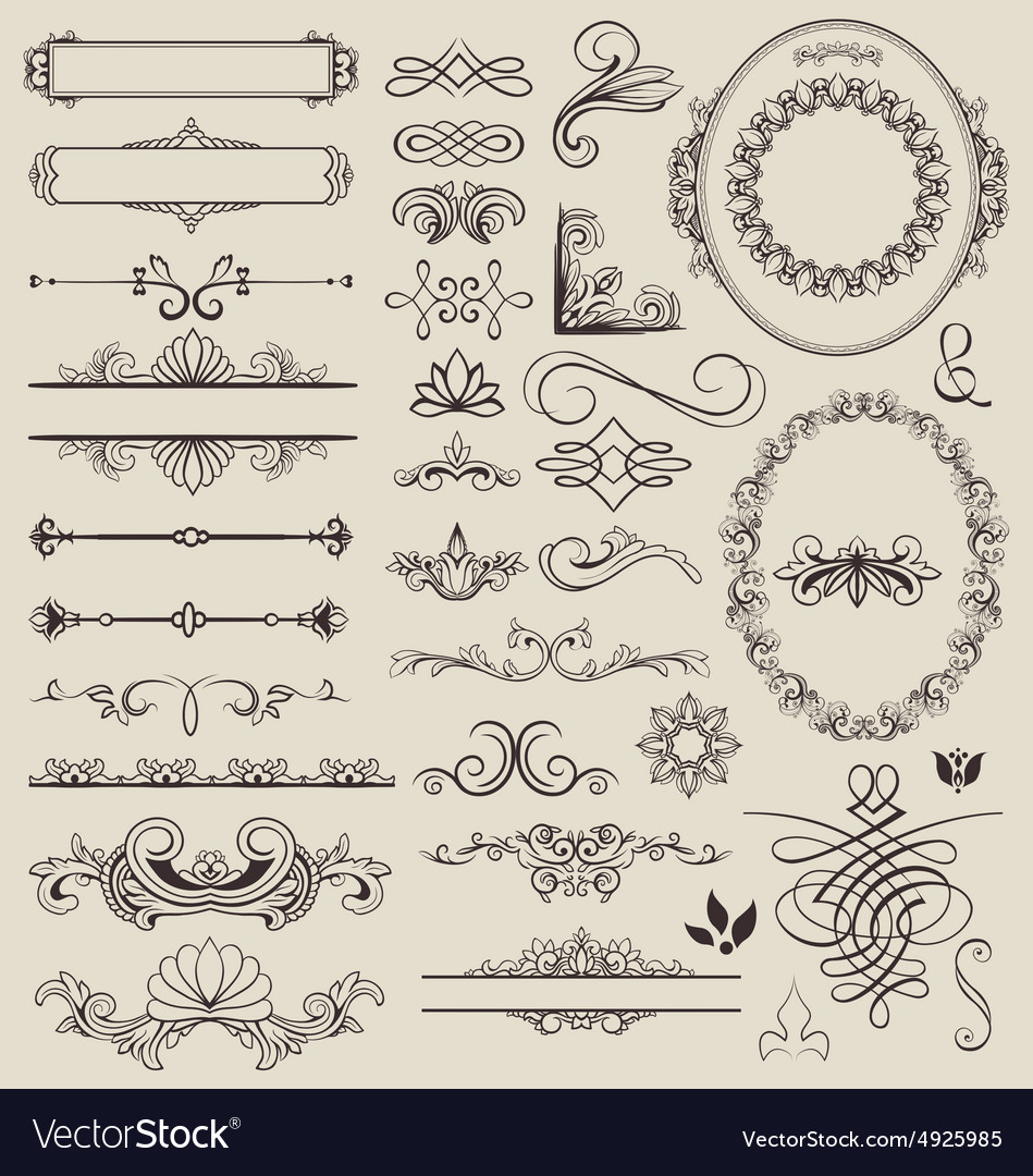 Decorative lines and border elements set