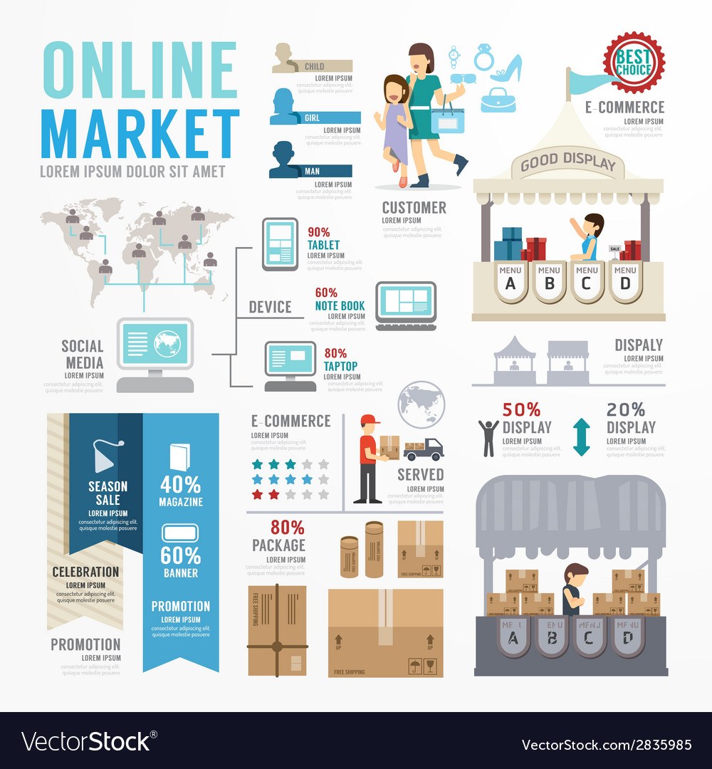 Ecommerce Online Template Design Infographic vector image