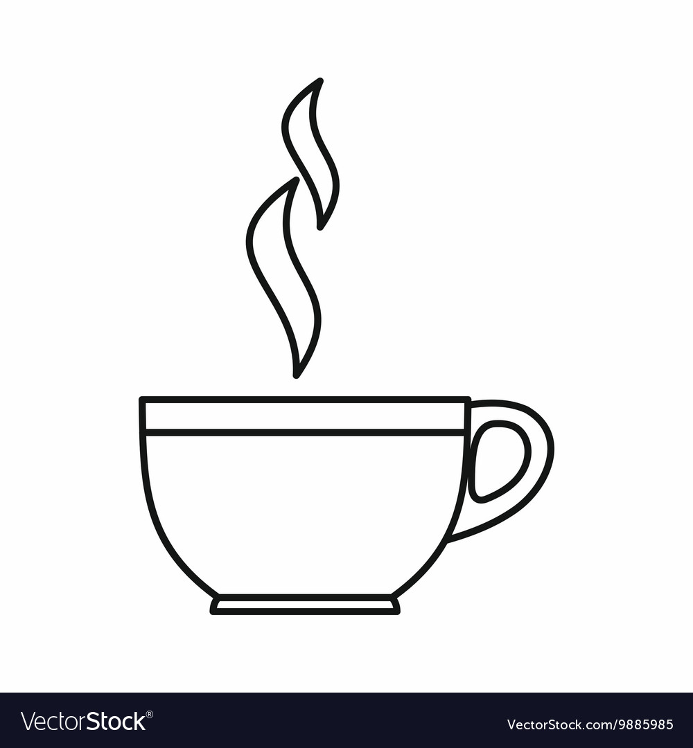 Glass cup of tea icon outline style vector image