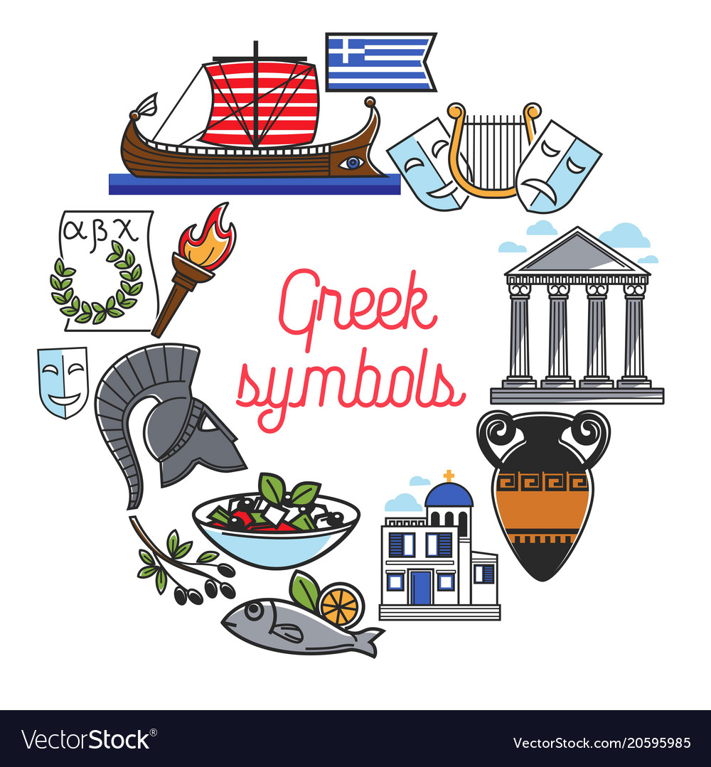 Greece Famous Sightseeing Symbols And Culture Vector Image