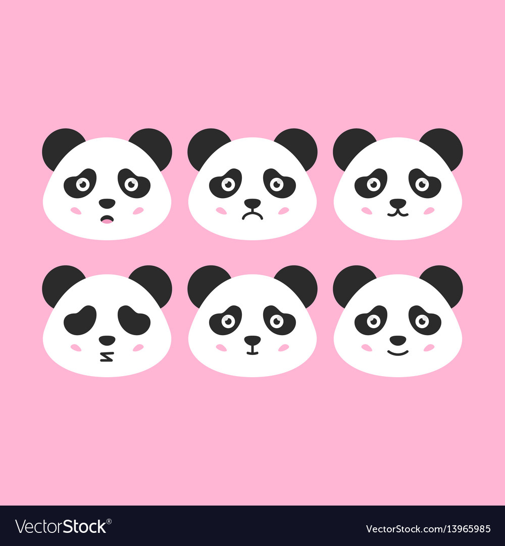 Panda faces set vector image