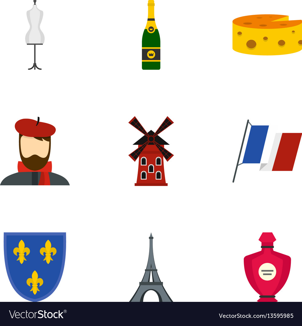 Paris icons set flat style