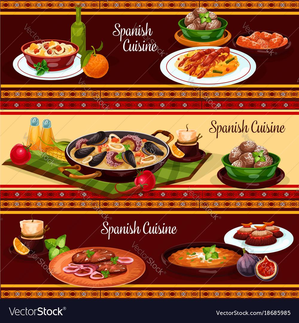 Spanish food mediterranean cuisine banner set