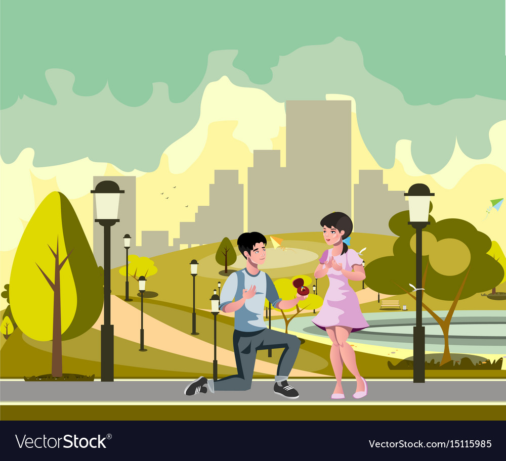 The man makes offer to girl vector image