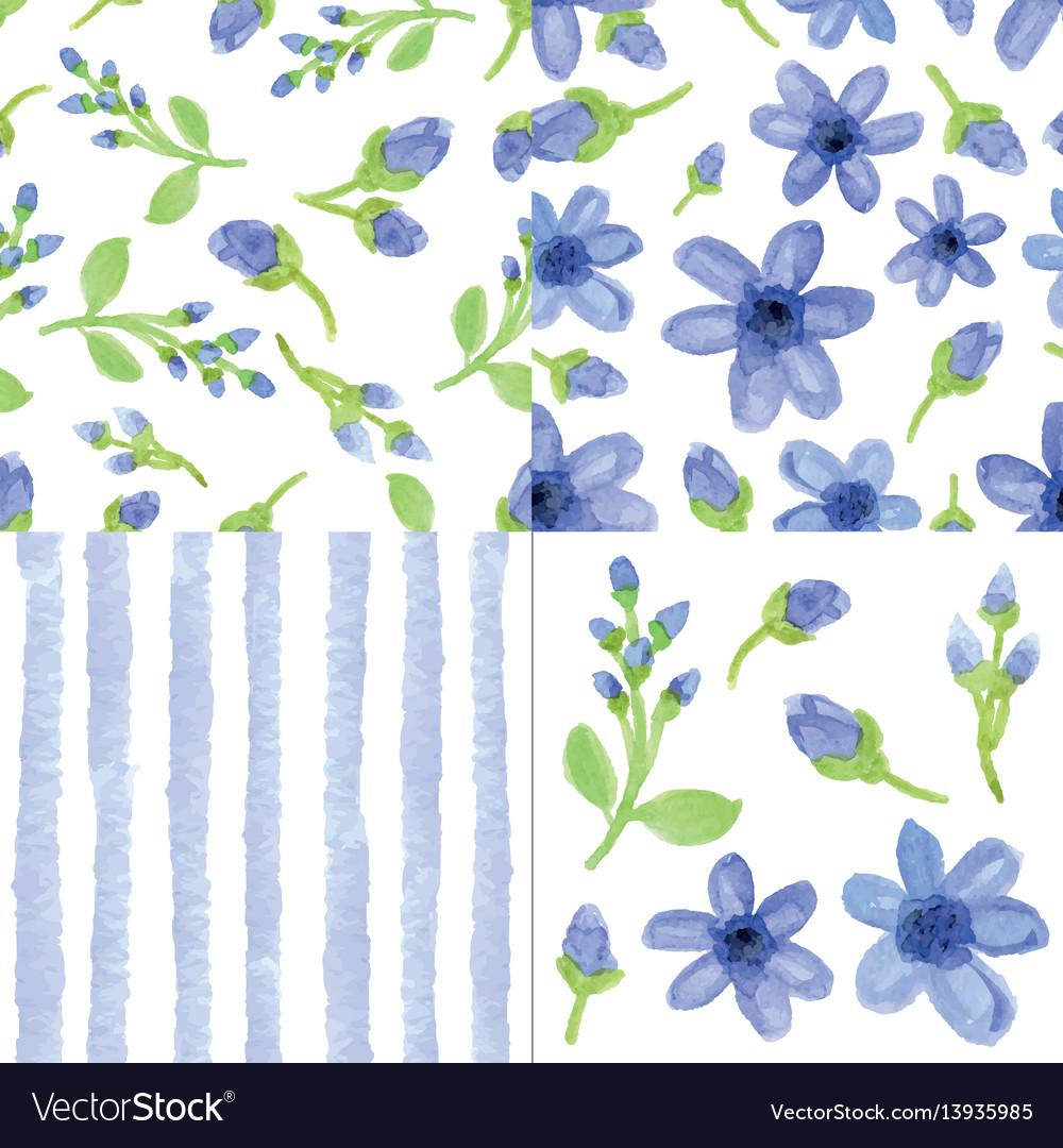 Watercolor blue flowersstrips seamless patter
