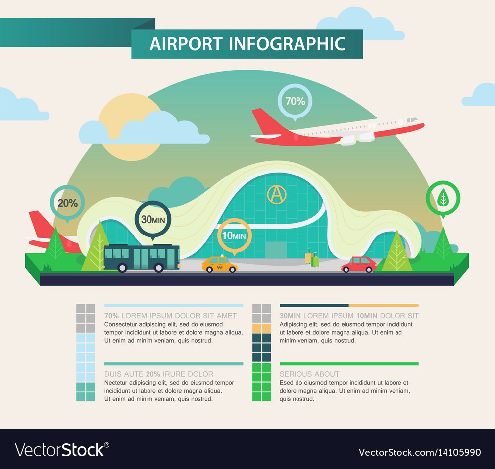 Airplane above airport as transport infographic