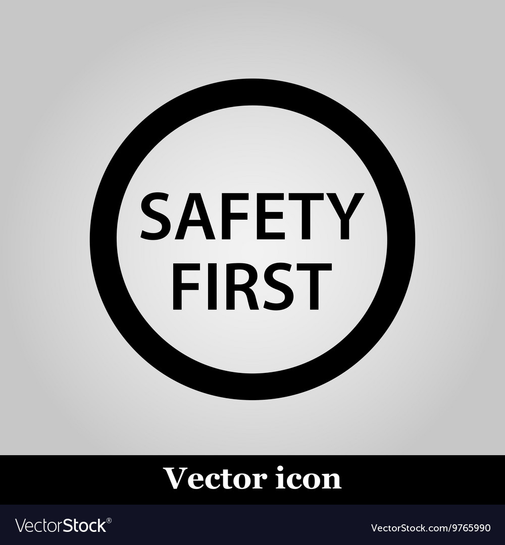 Black round safety first icon on grey background