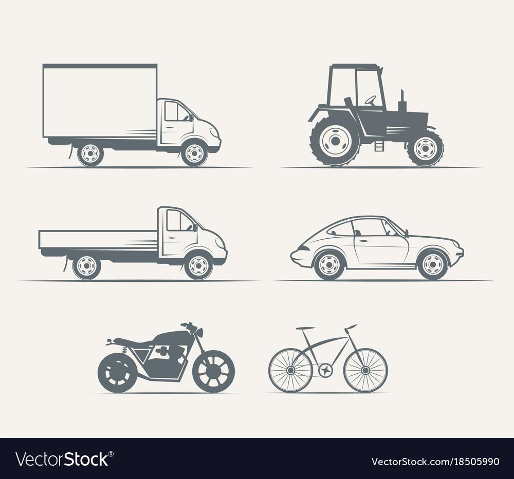 Cars motorcycles bike in vintage style