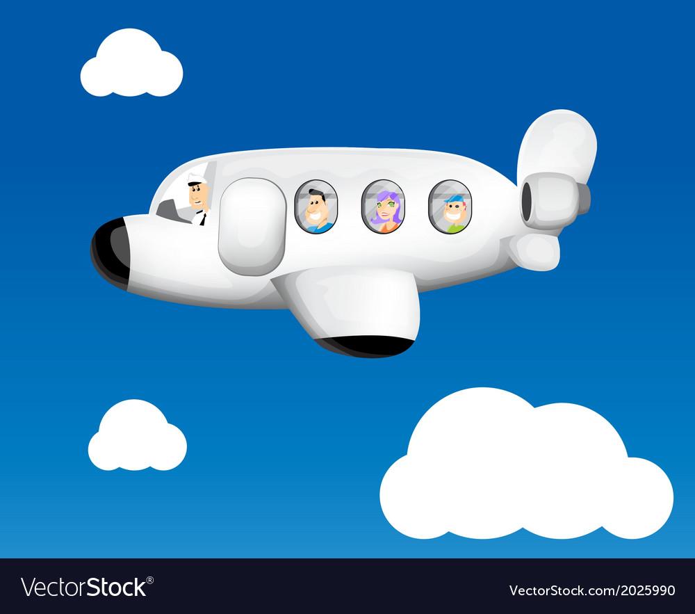 Cartoon Plane Flying Royalty Free Vector Image
