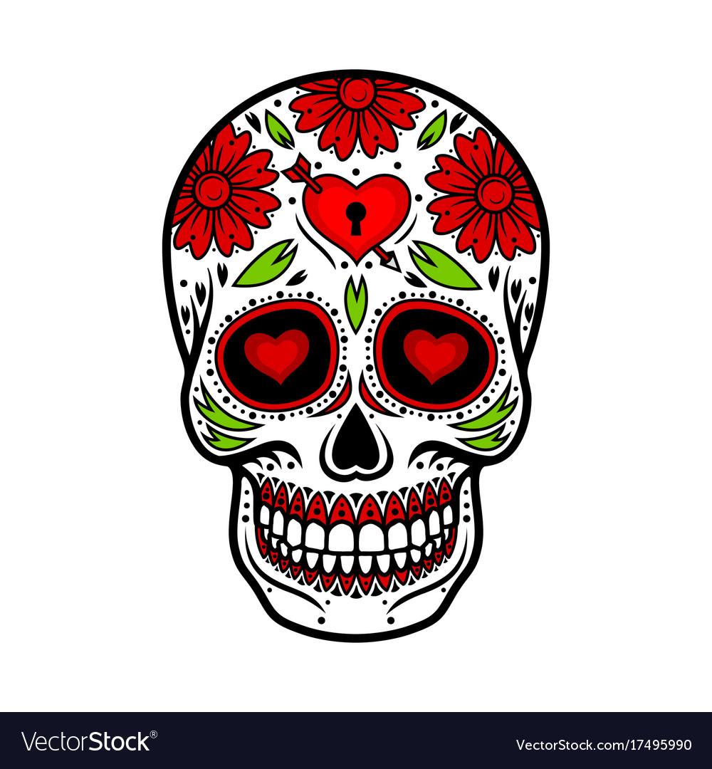 Day Of The Dead Skull Skull Sugar Flower Vector Image