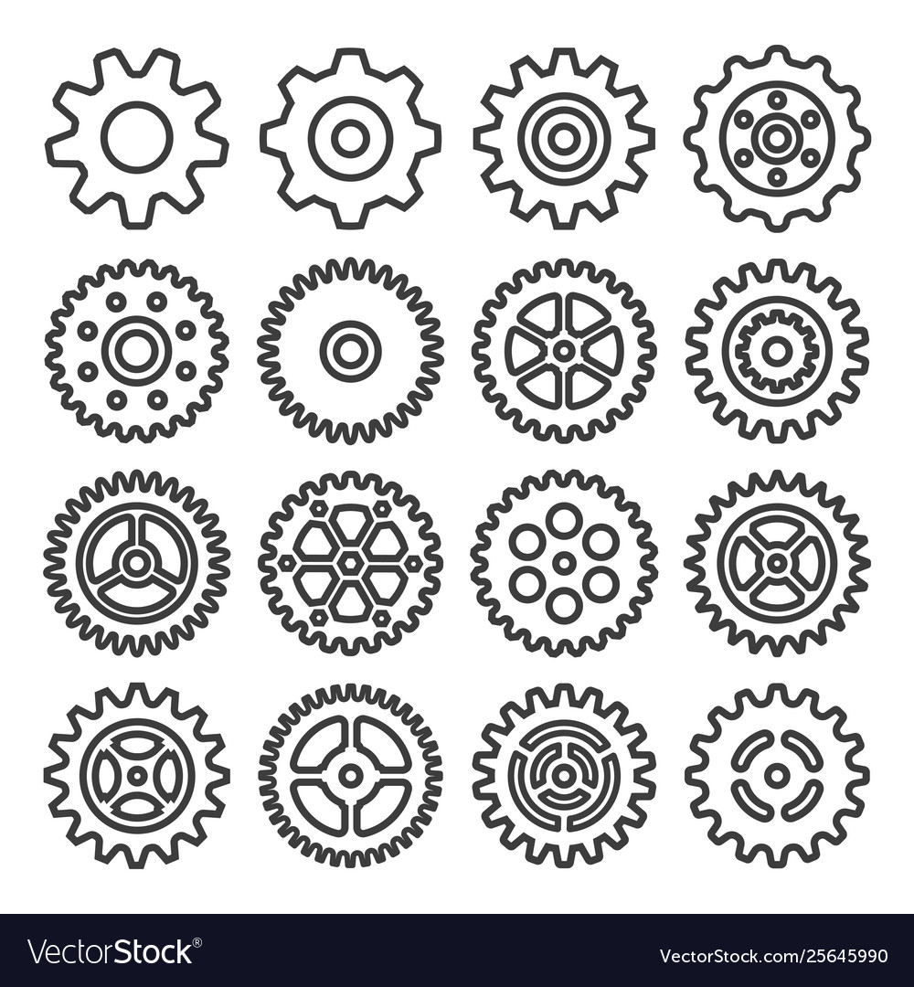 Gear outline icon set