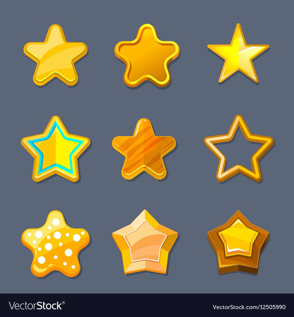 Glossy gold cartoon star icons for game ui
