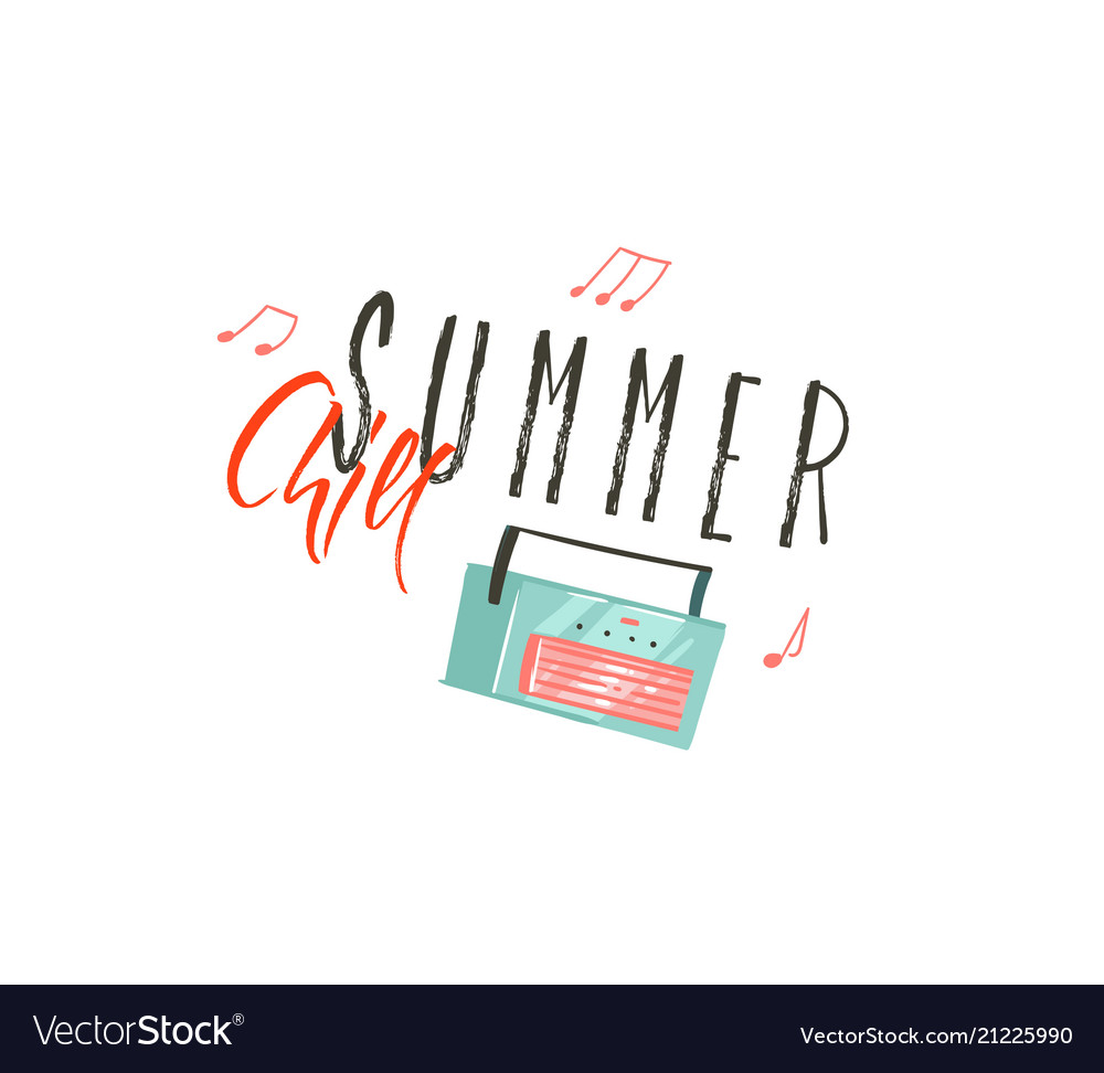 Hand drawn abstract cartoon summer time