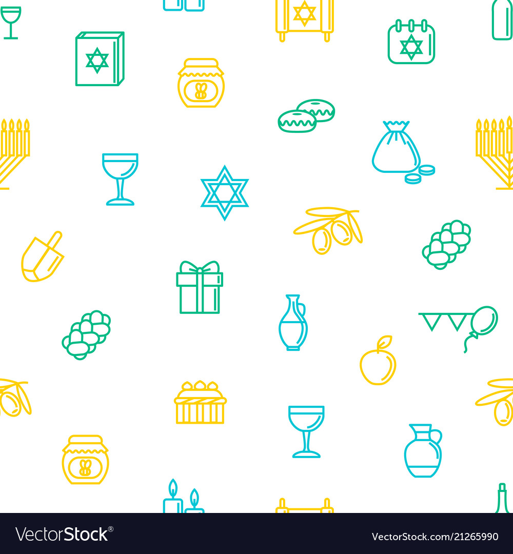 Hanukkah seamless pattern background