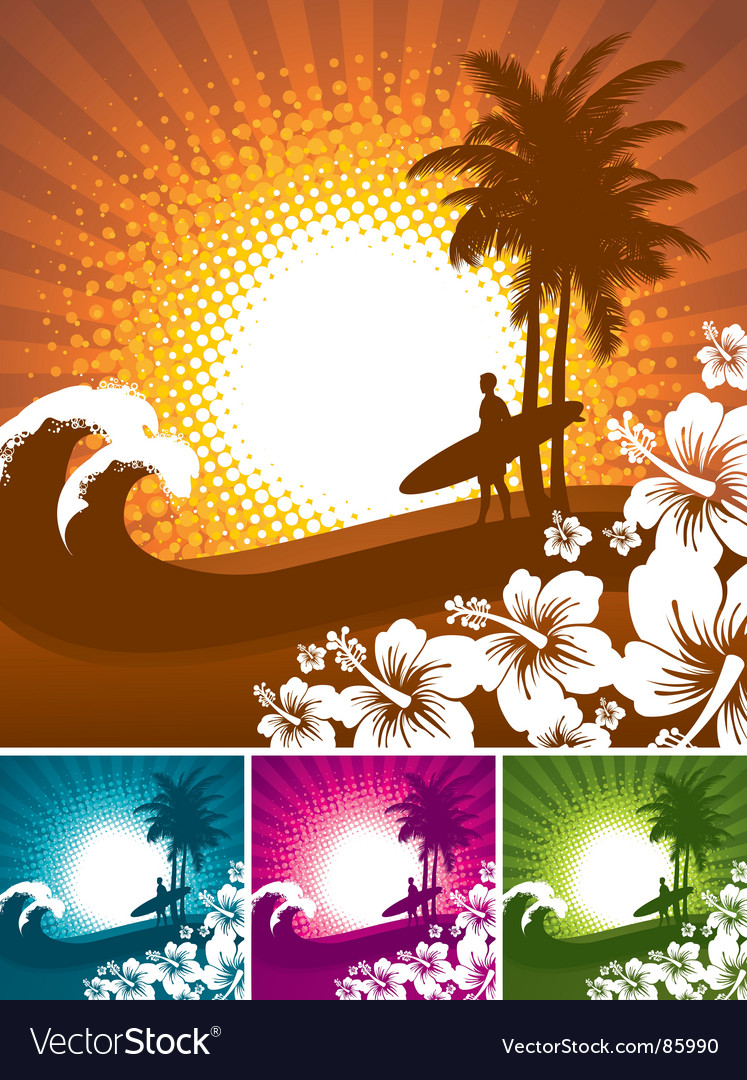 Hibiscus and surfer silhouettes