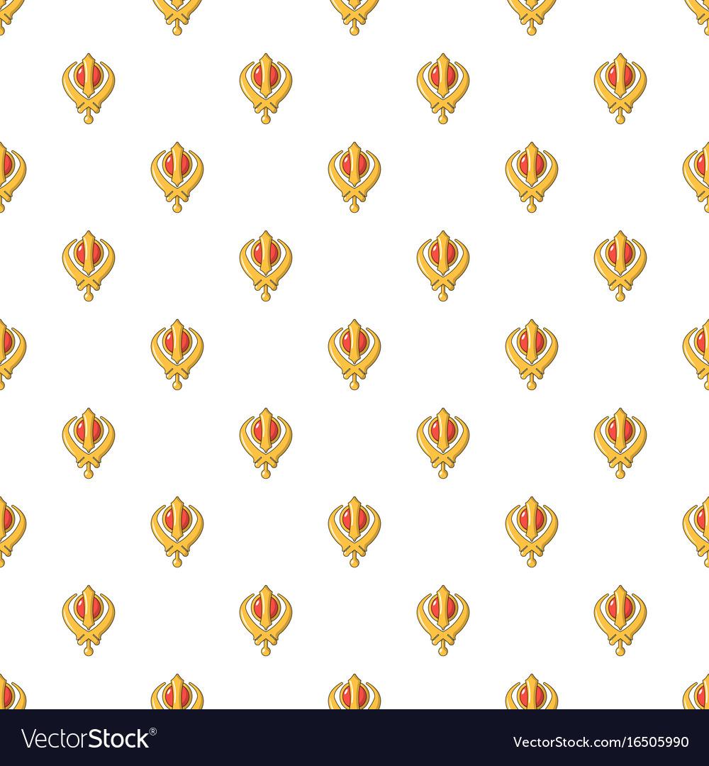 Khanda Symbol Sikhism Religion Pattern Seamless Vector Image