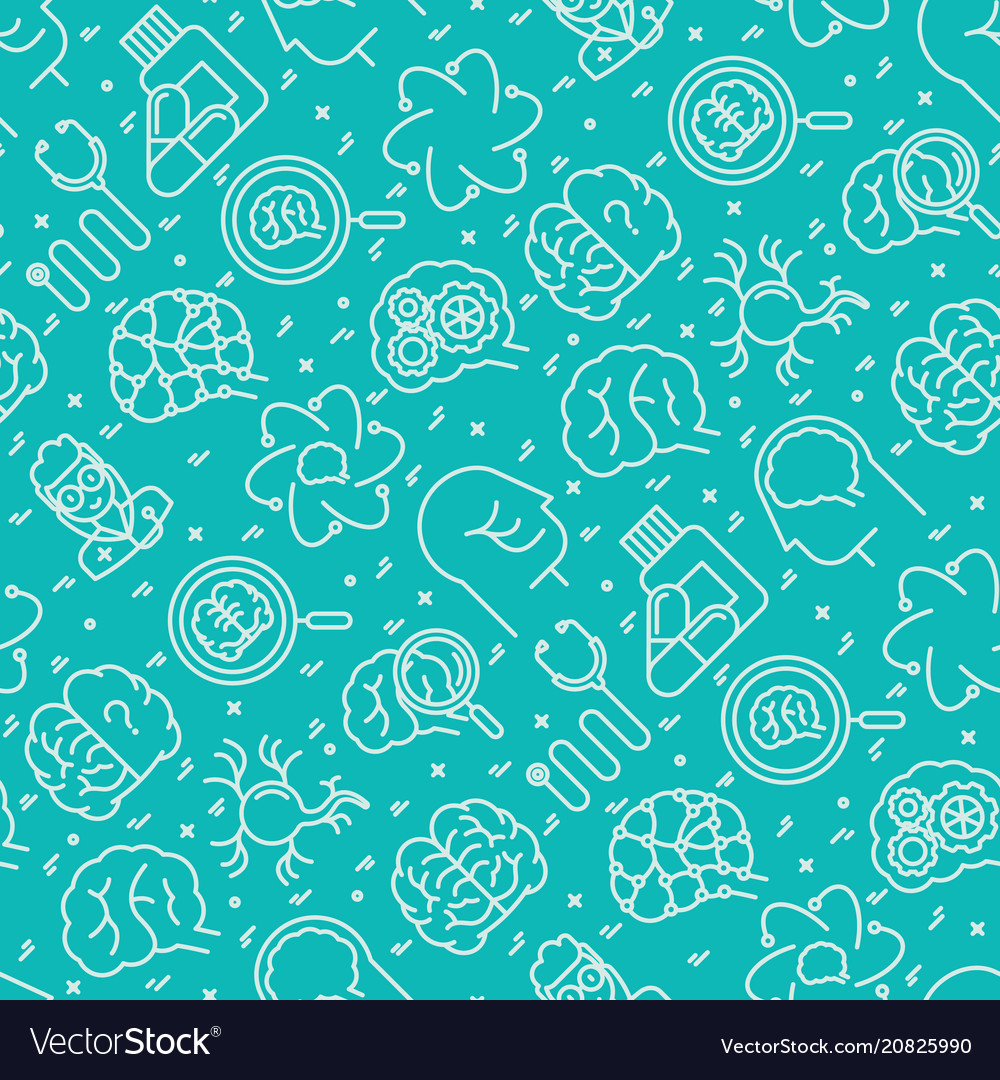 Neurology seamless pattern with thin line icons