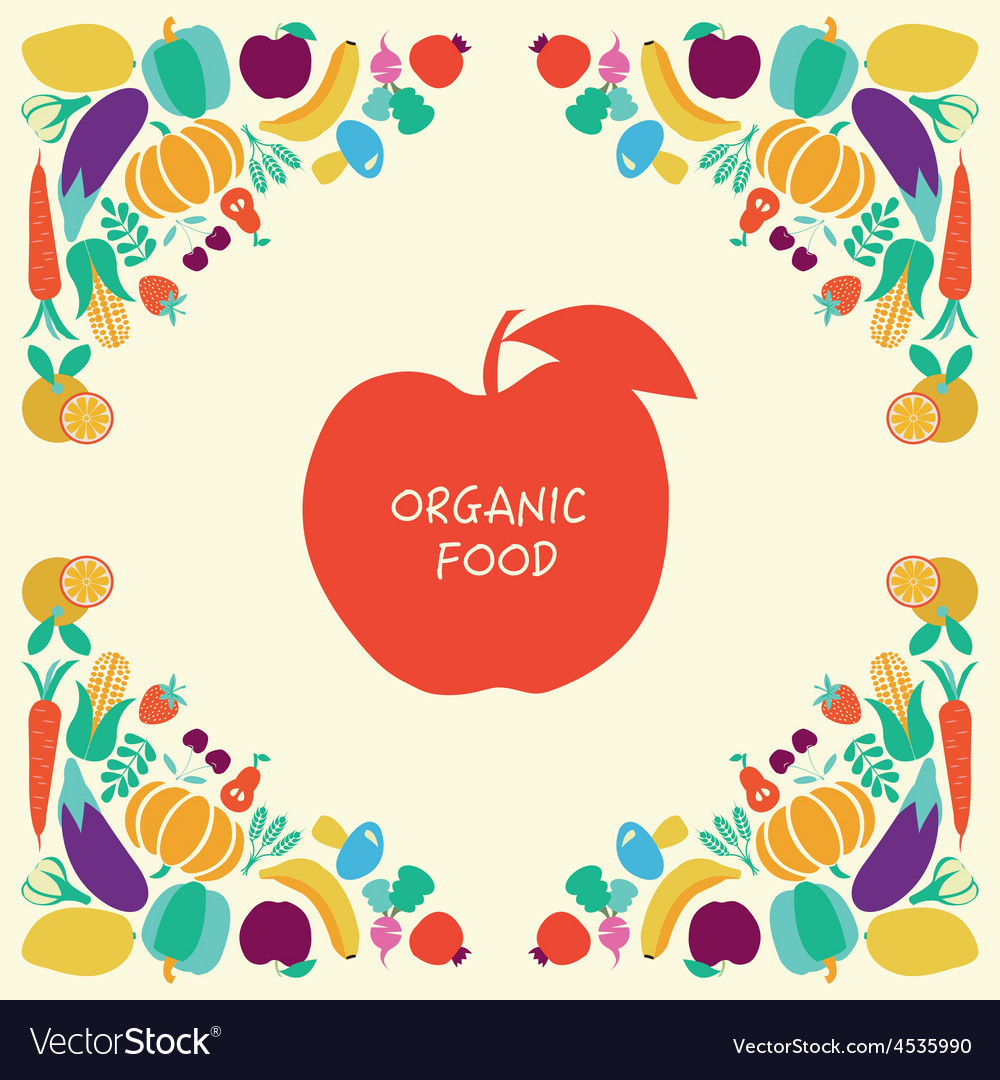 Organic Healthy Food icons set Eco Food vector image