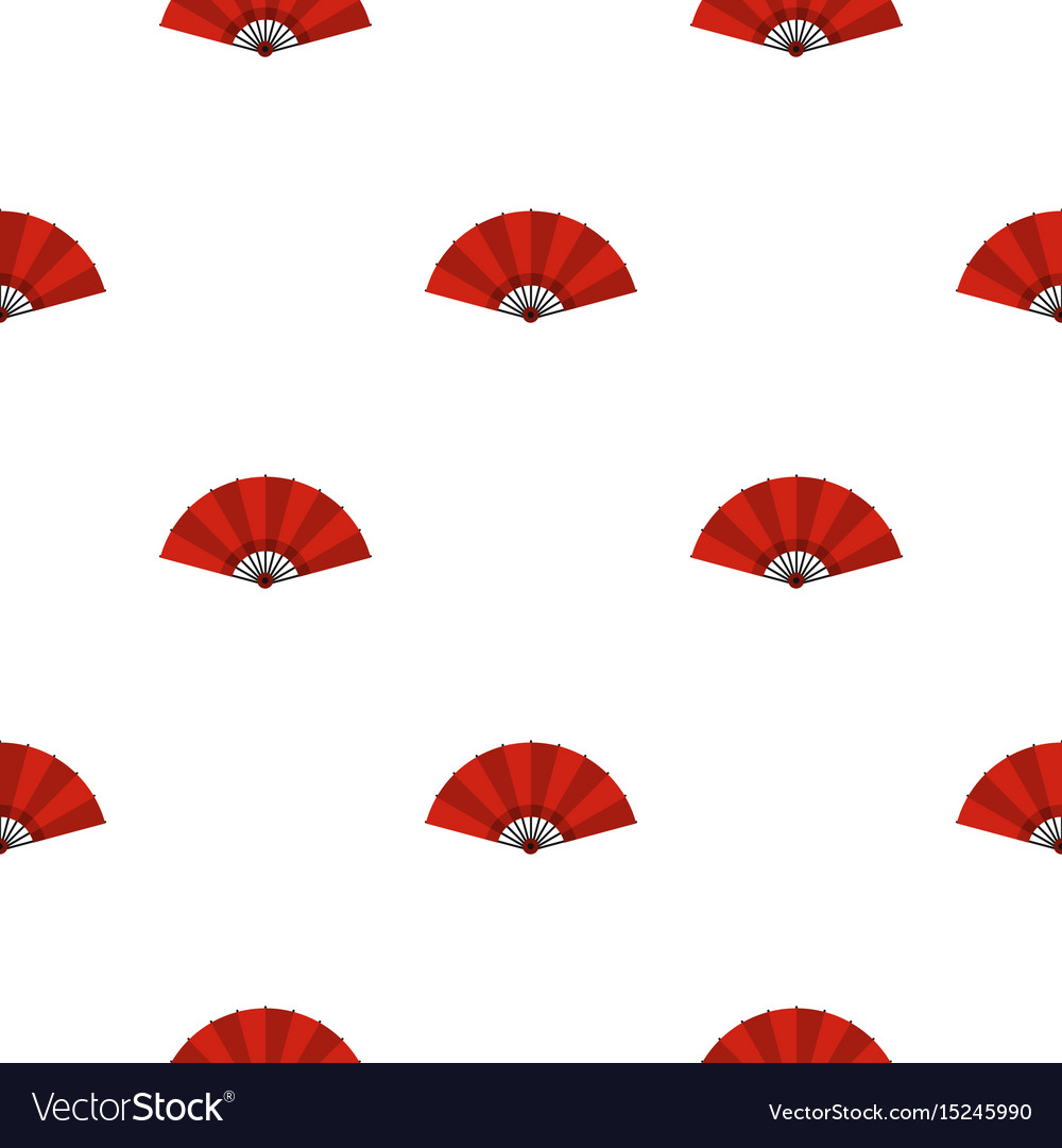 Red open hand fan pattern seamless
