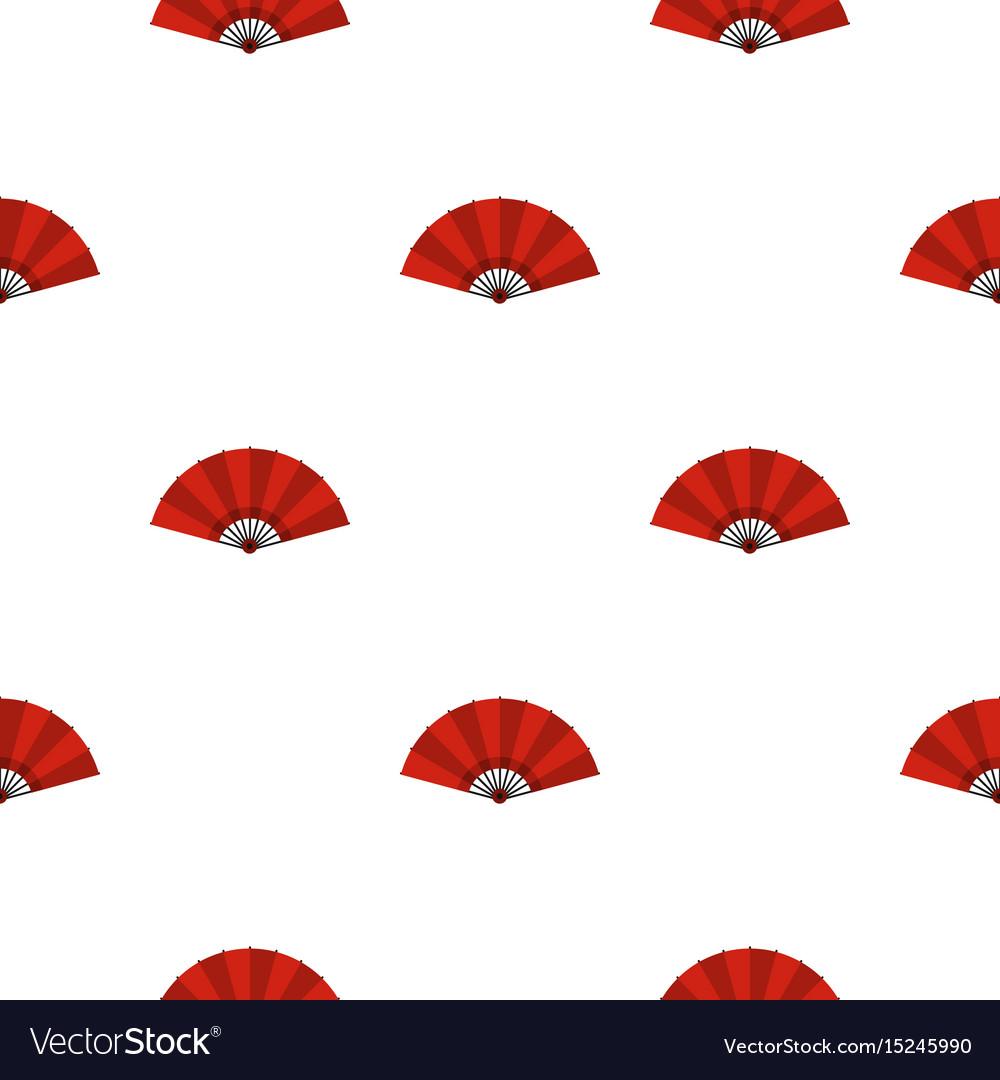 Red open hand fan pattern seamless vector image