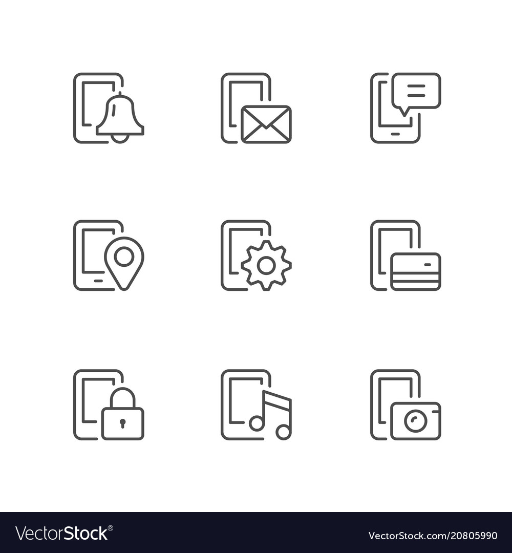Set line icons of mobile phone functions