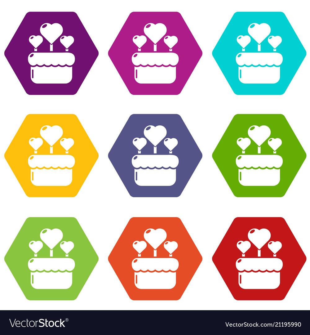 Wedding cake icons set 9